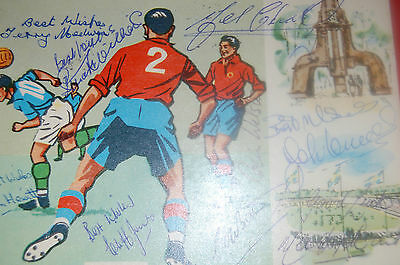 Wales 1958 World Cup Postcard Signed By By 9 Squad Members John Charles Etc