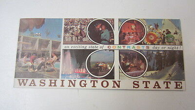 Vintage 1962 Washington State Map & Attractions Brochure, State of Contrasts