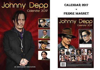 Johnny Depp 2017 Calendar + Johnny Depp Fridge Magnet - In Stock Now