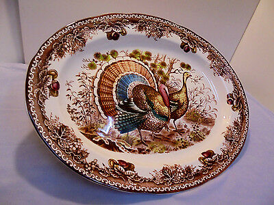 "Turkey Platter, Trees, Flowers, Fruit Edge, Not Marked, 18.5""x13.75"" Vintage"