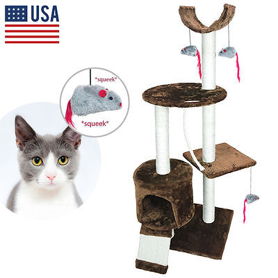 Cat Tree Play House Tower Condo Furniture Scratching Post Basket Mice Play New