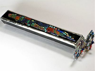"""Goldsmith Kaleidoscope 9"""" Art Deco Fused Dichroic Stained Glass, 2 Disks 2 Axles"""