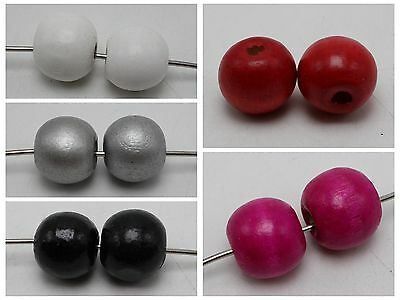 25 Round Wood Beads 20mm Large Wooden Beads 5 Color for Choice