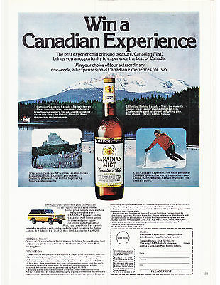 Original Print Ad-1979 Win a Canadian Experience-CANADIAN MIST-Coupon Entry Form