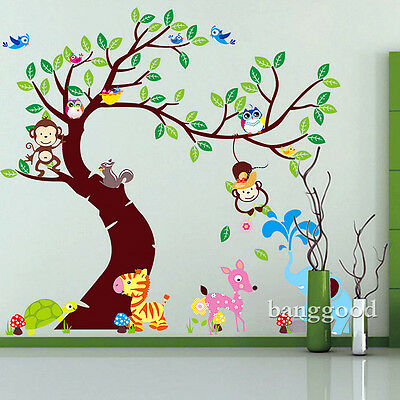 New Jungle Animals Tree  Monkey Owl Wall Decal Stickers Kids Nursery Room Decor