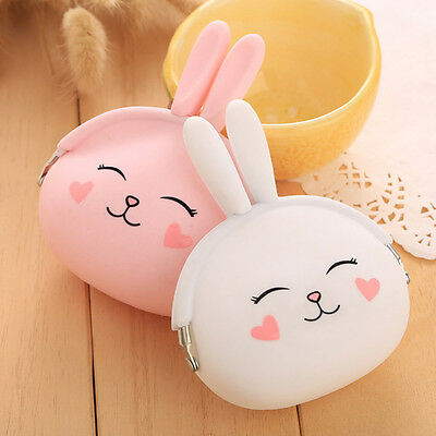 Cute Bunny Rabbit Silicone Coin Holder Purse Wallet Key Storage Bag Pouch Gift