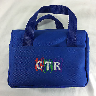 CTR Blue Fabric LDS Scripture Case Standard Mormon Tote Carrying Bag Bible Child