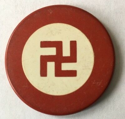 RED Clay Poker Chip GOOD LUCK Swastika / Swaztika Pre-WWII 1930s Antique Vintage
