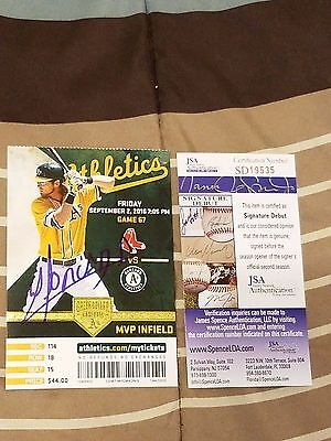 Yoan Moncada Signed Mlb Debut Game Ticket Stub Jsa Coa Rookie Graph 8/2/16