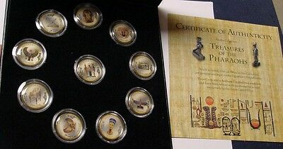 Swiss Castell Mint, Treasures of the Pharaohs, colorized 12 coin set in box.
