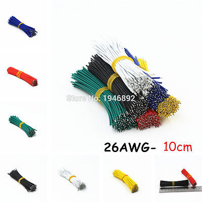 100pcs 26AWG-10cm UL 1007 Double Head Tinned Cable Solder Cable Fly jumper wire