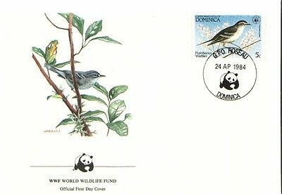 (72604) FDC WWF Dominica - Plumbeous Warbler - 1984