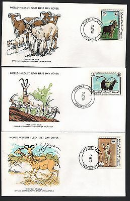 (44250) Mauitania WWF FDC x3 Gazelle / Barbary Sheep / Oryx - 27 Feb 1978
