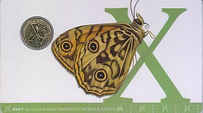 2017 Alphabet Coin Series - Xenica Butterfly - $1 Coloured Frosted Coin