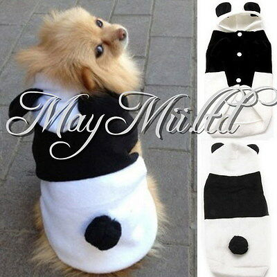 Pet Dog Winter Warm Panda Clothes Puppy Hoodie Coat Doggy Cat Outfit Dress G