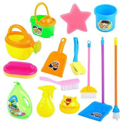 Mini Cleaning Toy Set Pretend Role Play Housekeeping House Broom Kids Children