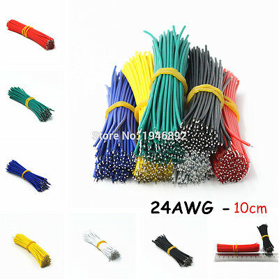 100pcs 24AWG-10cm UL 1007 Double Head Tinned Cable solder cable Fly jumper wire