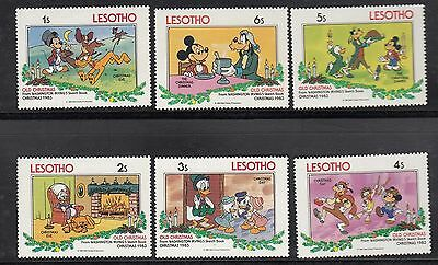 (74608) Lesotho MNH Disney Washington Irvining Stamps x6 Christmas U/M 1983