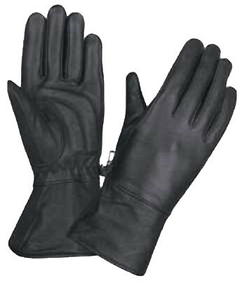 Womens Motorcycle Biker Leather Lined Gel Palm Gauntlet Riding Gloves LARGE