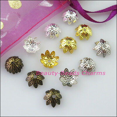 100 New Gold Silver Bronze Plated Lotus Flower End Bead Caps Connectors 10mm