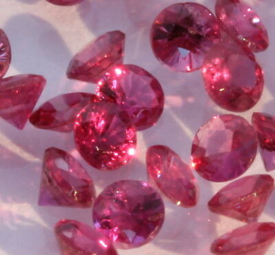 One Natural Red Ruby Well Faceted 2.1 mm Round Accent Gem Averages .05 carat