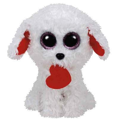 "Ty Valentine's Day Beanie Boos 6"" Honey Bun the Bichon Dog Plush"