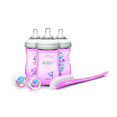 Avent Natural 9 Ounce Baby Bottle Feeding Gift Set - Pink Flowers