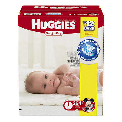 Huggies Snug and Dry Size 1 Baby Diapers - 264 Count