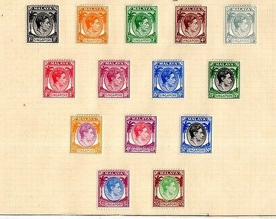 Malaya. Singapore Stamps. Sg1-15, Sg14 Omitted. 1948