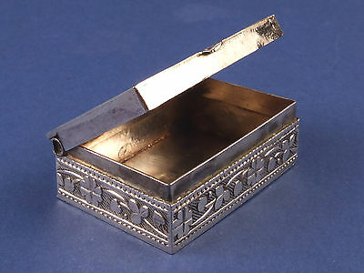 Antique German Solid Silver Pill or Snuff Box