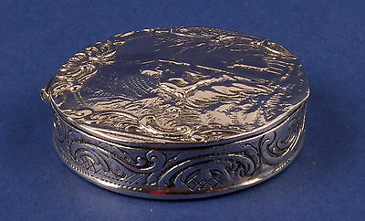 Antique German Solid Silver Pill or Snuff Box with Shepherd and a Sheep