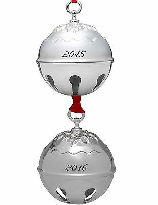 Reed & Barton 2015  and 2016  Silver Plated Holly Bells Ornaments