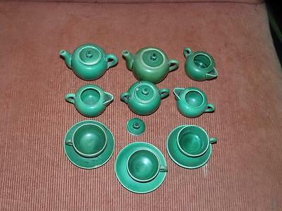 Antique Child's Green Majolica Tea Set English