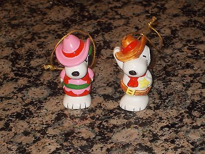 Vintage Snoopy & Sister Belle Cowboy Cowgirl Ceramic Ornaments Japan