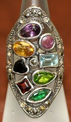 Ladies Stylish Designer 925 Silver Ring Inset With Coloured Stone Very Pretty