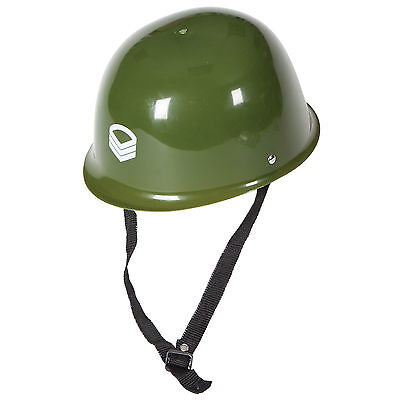 Adults Green Plastic Army Military Helmet Hat Fancy Dress Halloween Accessory