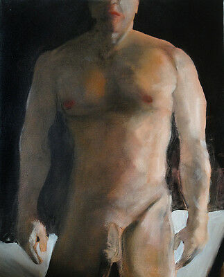 Drawing  NUDE male DARKNESS REVISITED 1/2/50 Esteban Realism FREE SHIP