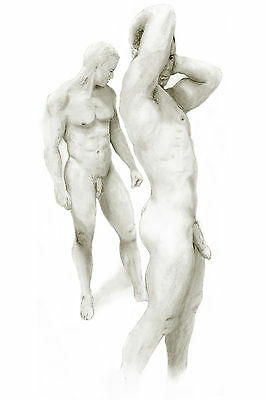 drawing NUDE Male 2 men standing NR 1/28/50 Pencil, Graphite, Realism FREE SHIP