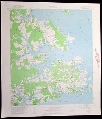 Achilles Virginia Mobjack Bay York River vintage 1960 old USGS Topo chart