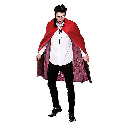 Mens Reversible Satin Cape With Collar Fancy Dress Halloween Costume Outfit New