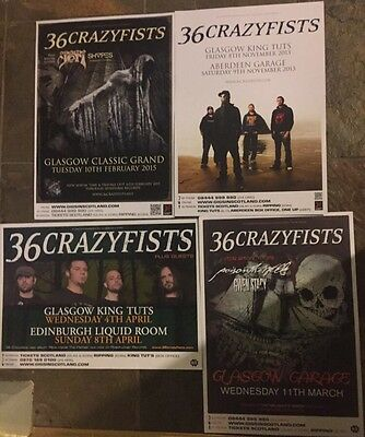 36 Crazyfists - collection of 4 Rare Concert/gig/Tour posters