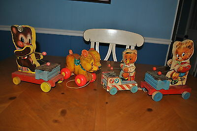 Fisher Price Pull Toy Lot Bears: Teddy Zilo 777/752 Tiny Teddy 636 Cry Baby 711