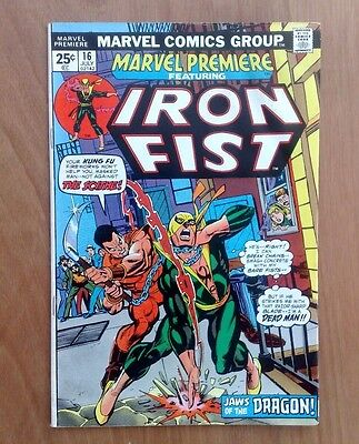 MARVEL PREMIERE #16 2nd IRON FIST JULY 1974 1st  PRINT CENTS ISSUE FINE COPY