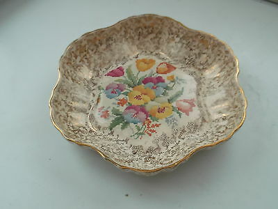 1933 - 42 Hollinshead And Kirkham Shaped Shallow Bowl With Petite Point Flower