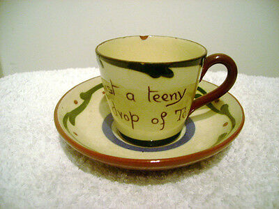 1905-40 Longpark Pottery Motto Ware Cup And Saucer