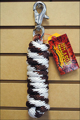 Brown White Horse Tack Braided Poly Lead Rope W/ Buffalo Snap Solid 5/8 X 9