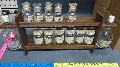 vintage wooden spice rack 2 tier with empty spice bottle's