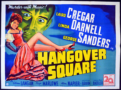 HANGOVER SQUARE 1945 Laird Cregar, Linda Darnell, George Sanders UK QUAD POSTER