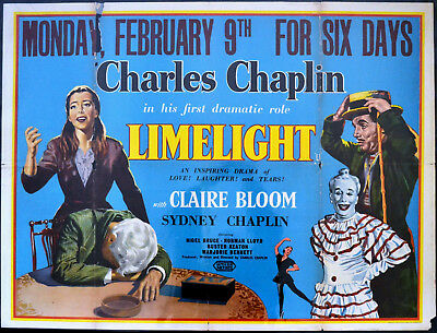 LIMELIGHT 1952 Charlie Chaplin, Claire Bloom, Nigel Bruce UK QUAD POSTER