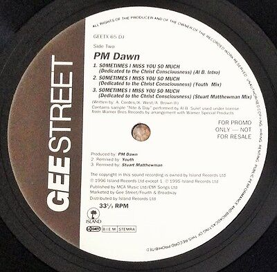 "Pm Dawn - Sometimes I Miss You So Much, A 6-Mix Promo 12"" Vinyl, Geetx65Dj"